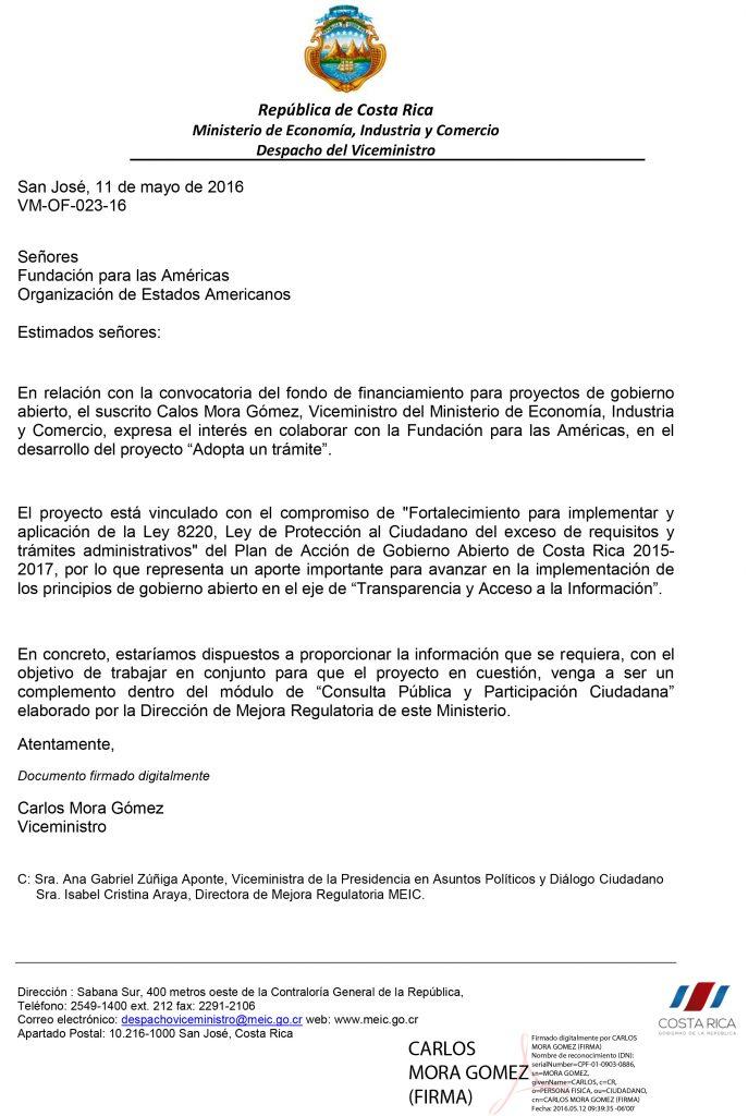 Carta Apoyo Adopta Un Tramite MEIC
